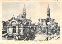 42 - Saint Etienne - Eglise Saint François Régis - Avant Et Après Le Bombardement Du 26 Mai 1944 - Multivues - Saint Etienne
