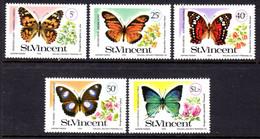 ST VINCENT - 1978 BUTTERFLIES & BOUGAINVILLEAS SET (5V) FINE MNH ** SG 551-555 - St.Vincent (...-1979)
