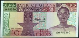 ♛ GHANA - 10 Cedis 02.07.1980 AU-UNC P.20 C - Ghana