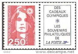 YT 2715aa Paire Issue Du Carnet 2715-C 1 Papier Luminescent. Peu Proposé. A SAISIR. - 1989-96 Marianne Du Bicentenaire