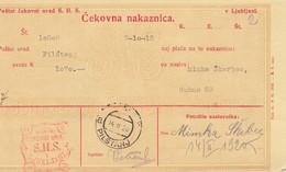 Slovenia SHS 1921 Postal Money Order With SHS Postage Due Stamp, Postmark PILŠTANJ - Slovenia