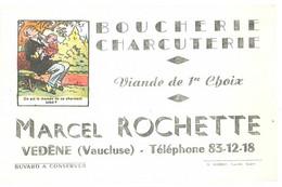 Buvard Boucherie Charcuterie Viande De 1er Choix, Marcel Rochette, Vedène ( Vaucluse ), Dessin Devinette - Lebensmittel