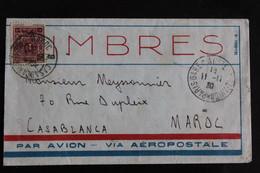 1930 .LSC CAD PARIS-GARE D'AUSTERLITZ-AVION DU 11/11/30 POUR CASABLANCA, MAROC SS AFFRANCHISSEMENT TAXEE.. - 1921-1960: Moderne