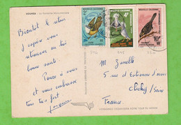 JOLI AFFRANCHISSEMENT N° 346/348/350 SUR CARTE POSTALE NOUMEA LA FONTAINE MONUMENTALE - Nuova Caledonia