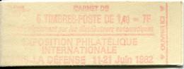 FRANCE Carnet N° 2102-C1b Impression Défectueuse De La Couverture Type SABINE - 1,40 Fr. Rouge - 5 Timbres - Uso Corrente