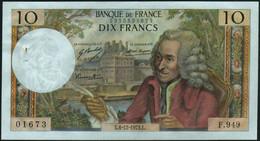 ♛ FRANCE - 10 Francs 06.12.1973 {sign. Bouchet / Morant / Vergnes} AU P.147 D - 10 F 1963-1973 ''Voltaire''