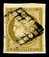 N°1, 10c Bistre Obl Grille Sur Petit Fragment, TB (certificat)  Qualité: O  Cote: 350 Euros - 1849-1850 Ceres