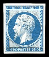 N°10c, 25c Bleu, Impression De 1862, Quatre Marges équilibrées. TTB (certificat)  Qualité: *  Cote: 600 Euros - 1852 Louis-Napoléon
