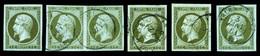 N°11, 1c Empire, 6 Exemplaires Avec Nuances Dont Paire,1ex (*). TB  Qualité: O  Cote: 585 Euros - 1853-1860 Napoleone III