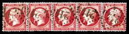 N°24a, 80c Rose-foncé, Bande De Cinq. TTB (certificat)  Qualité: O  Cote: 700 Euros - 1862 Napoleone III