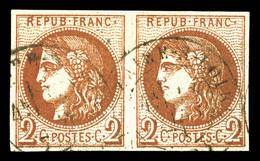 N°40B, 2c Brun-rouge Rep 2 En Paire. TTB (signé Calves)  Qualité: O  Cote: 750 Euros - 1870 Emission De Bordeaux