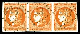 N°48, 40c Orange, Bande De 3 Horizontale Obl GC 633. TTB (signé Calves/certificat)  Qualité: O  Cote: 825 Euros - 1870 Emission De Bordeaux