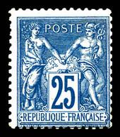 N°79, 25c Bleu Type II. TB (certificat)  Qualité: *  Cote: 750 Euros - 1876-1898 Sage (Tipo II)