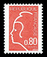 N°1862A, NON EMIS: Marianne De Durrens (1975), 80c Rouge. SUP. R. (certificat)  Qualité: **  Cote: 2250 Euros - Ongebruikt