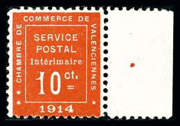 N°1, Valencienne, 10c Rouge Bord De Feuille Latéral, TTB (signé Brun/Margues/certificat)  Qualité: **  Cote: 1100 Euros - Oorlogen