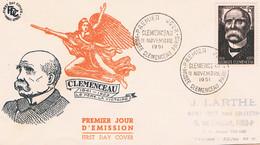 FRANCE F.D.C  N° 918  Clemenceau .   P.J 11 Novembre 1951  Paris - 1950-1959