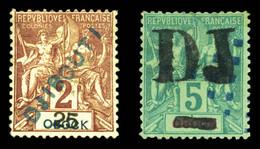 N°1/2, 5c Vert (*) Et 25c Sur 2c Lilas-brun Sur Paille, Les 2 Ex TTB (signé Brun/certificat)  Qualité: *  Cote: 740 Euro - Nuevos