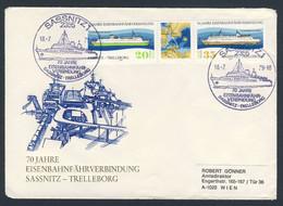DDR Germany 1979 Brief Cover - 70 Jahre Eisenbahnfährverbindung Sassnitz - Trelleborg - Railway Ferry - Trains
