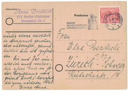 LA721    Berlin 1951 Postkarte To Zürich, Schweiz - Mi.Nr. 49 - Cartas