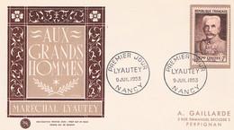 FRANCE F.D.C  N° 950   Lyaytey   P.J   09 Juillet  1953  Nancy - 1950-1959