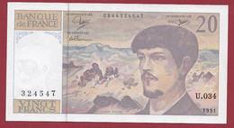 """20 Francs """"Debussy"""" --1991 ---ALPH  .U.034  Dans L 'état - 20 F 1980-1997 ''Debussy''"""