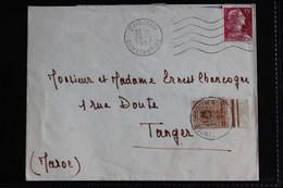 1957 LSC OMEC DJIDJELLI /CONSTANTINE 28/1/1957 POUR TANGER TAXEE 10C BORD DE FEUILLE CAD TANGER 01/02/57.. - Briefe U. Dokumente
