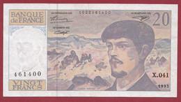 """20 Francs """"Debussy"""" --1993 ---ALPH  .X.041  Dans L 'état - 20 F 1980-1997 ''Debussy''"""