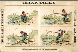 RARE CHROMO EAU DE TABLE CHANTILLY HISTOIRE SANS PAROLES UNE PECHE MIRACULEUSE - Other