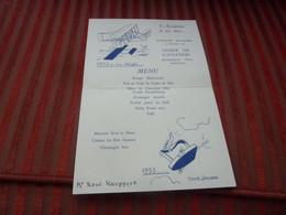 MENU L'AVIATION A 50 ANS DINER DE L'AVIATION BOMBARDEMENT CHASSE OBSERVATION  14 /11/1953 ILLUSTRE MARCEL JEANJEAN - Menu