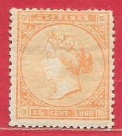 Antilles Espagnoles N°32 Isabelle II 20c Orange 1869 * - Non Classificati