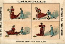 RARE CHROMO EAU DE TABLE CHANTILLY HISTOIRE SANS PAROLES C'EST LA FAUTE DU CABOT - Other
