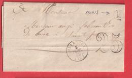 CAD TYPE 15 OLARGUES HERAULT BOITE RURALE E LE PRADAL PRES MONS TAXE 25 - 1849-1876: Classic Period