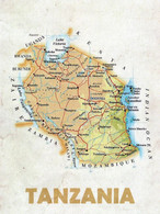 1 Map Of Tanzania * 1 Ansichtskarte Mit Der Landkarte Von Tansania * - Landkaarten