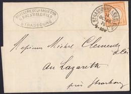 BRUSTSCHILD Nr.18 EF Auf Ortsbrief Mit Hufeisenstempel STRASSBURG I. ELS: BHF. (36-4) (ch20) - Briefe U. Dokumente
