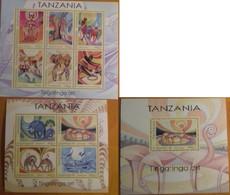 Tanzania 2018, Tingatinga Art, Three MNH S/S - Tanzania (1964-...)
