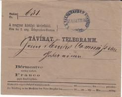 Enveloppe Télégramme , Cachet K.K. Telegraphen Station Klausenburg - Transsylvanië