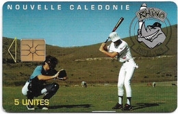 New Caledonia - OPT - Rhino Baseball Club, NC-031 (With CN.) Gem1A Symm. Black, 06.1995, 5Units, 750ex, Used - Neukaledonien