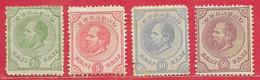 Curaçao N°1 2,5c, N°3 5c, N°4 10c, N°9 50c Violet-brun 1873-89 (*) - Curacao, Netherlands Antilles, Aruba