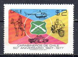 CHILI. N°484 De 1977. Hélicoptère/Moto/Voiture/Police Montée. - Hubschrauber