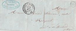 MARNE - CHALON-S-MARNE - T15 - 15 AOUT 1852 - TAXE 1 MANUSCRITE - OR - DE COURTISOLS - VERSO - CURSIVE - 49 AUVE - AVEC - 1849-1876: Classic Period