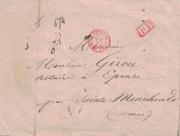 PARIS - BUREAU CENTRAL (60) - EN ROUGE - TYPE 15 - PP EN ROUGE - VERSO TAXE ET CALCUL DE TAXE. - 1801-1848: Precursors XIX