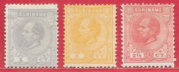 Suriname N°1 à/to 3 Guillaume III 1873-88 (*) - Surinam ... - 1975