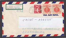 LETTRE PAR AVION DE BOSTON ,AVEC E.A. 2 TIMBRES MAHATMA GANDHI,POUR LUXEMBOURG. - 3c. 1961-... Brieven