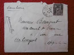 LETTRE TIMBRE SAGE 25 C GRIFFE SIERRA LEONE VIA LIVERPOOL 1898 CACHET FREETOWN  LONDON - 1877-1920: Période Semi Moderne
