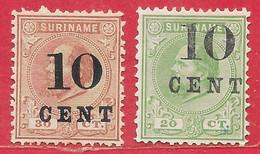 Suriname N°31 10c Sur 20c Vert &  N°33 10c Sur 30c Brun-rouge 1898 (*) - Surinam ... - 1975