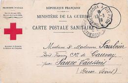 GUERRE 14-18 - CARTE POSTALE SANITAIRE - BULLETIN DE SANTÉ D'UN MILITAIRE ÉVACUÉ - CACHET CROIX ROUGE - Guerra 1914-18