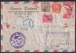 1956-H-80 CUBA REPUBLICA 1956 5$ BIRD FRONT COVER PACKET TO GERMANY. RARE. - Gebruikt