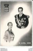 Carte ( Format 15 X 10 Cm ) De Monaco Le Prince Rainier III Et La Princesse Grace 19 Avril 1956 Mariage  ( Recto Verso ) - Palazzo Dei Principi