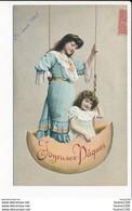 Carte De Joyeuses Pâques Femme Fille Dans Balançoire En Coquille D' Oeuf ( Recto Verso ) - Easter