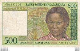 Billet De Banque Madagascar  Madagasikara 500 Francs - Madagascar